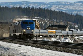 Train moving through the Truckee area