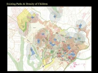 Existing Parks and Density of Children